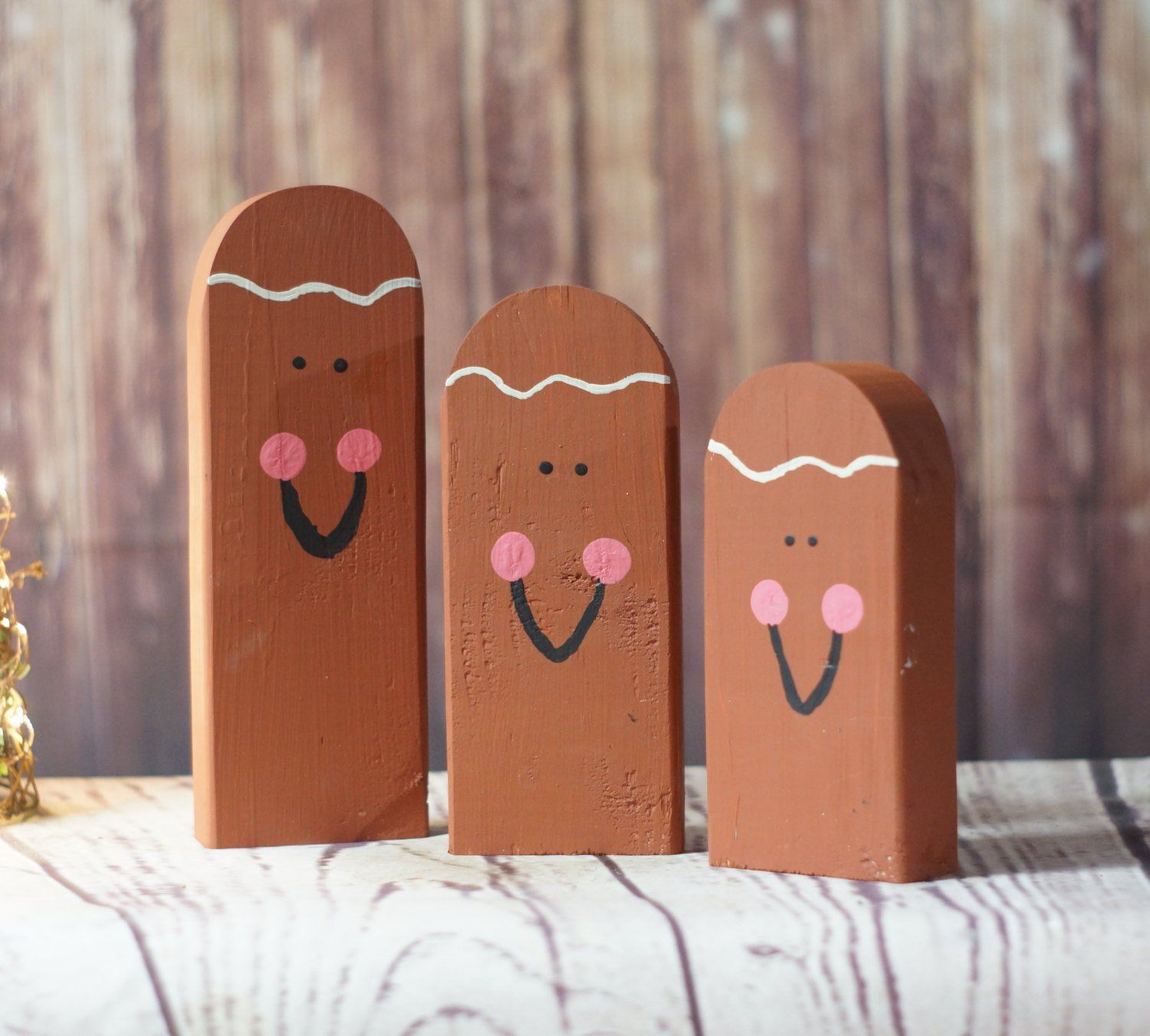 Wooden Gingerbread Man  Hand Painted Gingerbread Man  Rustic