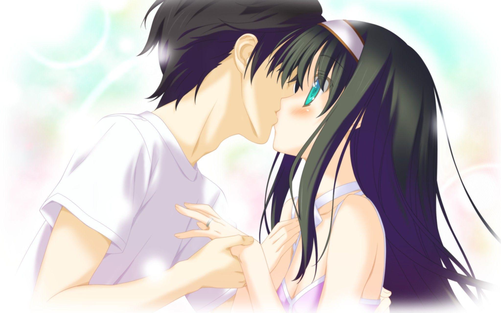 Аниме парень и девушка целуются картинки