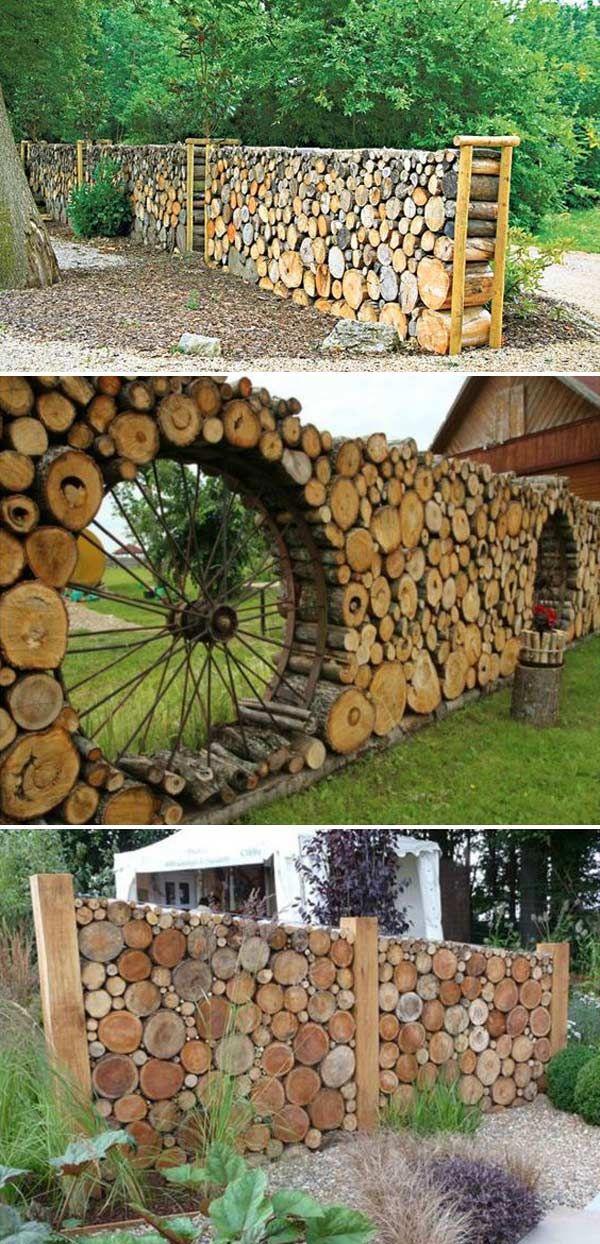 gartengestaltung mit baumstämmen coole diy-ideen, um rundholz und baustämme in eurem