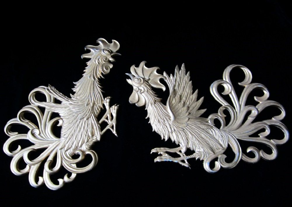 Metal Rooster Wall Decor Set Vintage Sexton Metal Crafts Sturdy