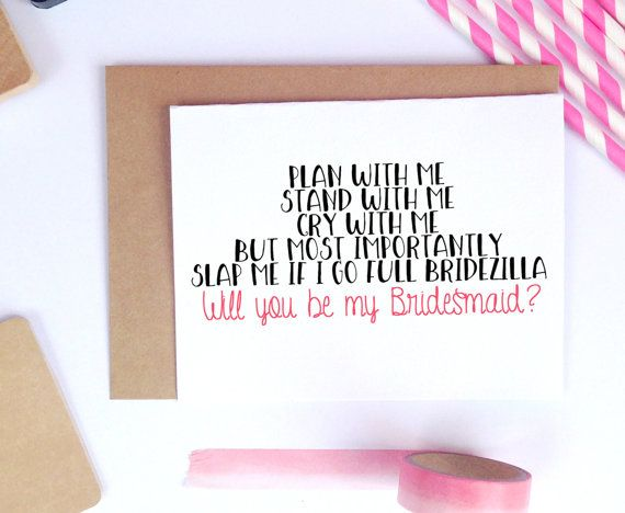 Funny Bridesmaid Card Invitation Wedding Proposal Blank