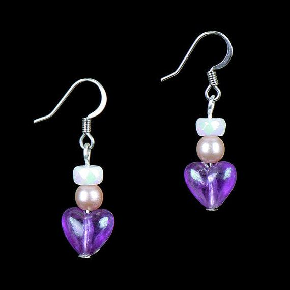 Vintage Love Goddess Earring Purple Heart by AuraRosesTreasures