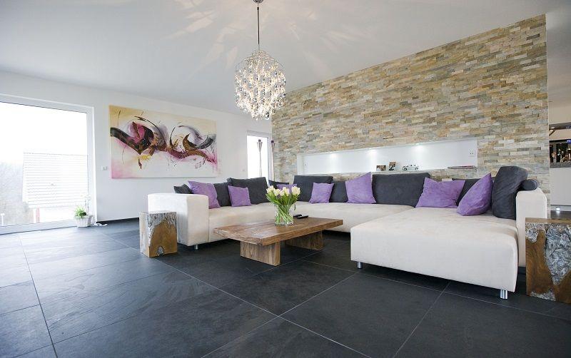 Moderne Wohnzimmer Fliesen And Modern Eingerichtetes Wohnzimmer Mit  Schiefer Mustang Fliesen