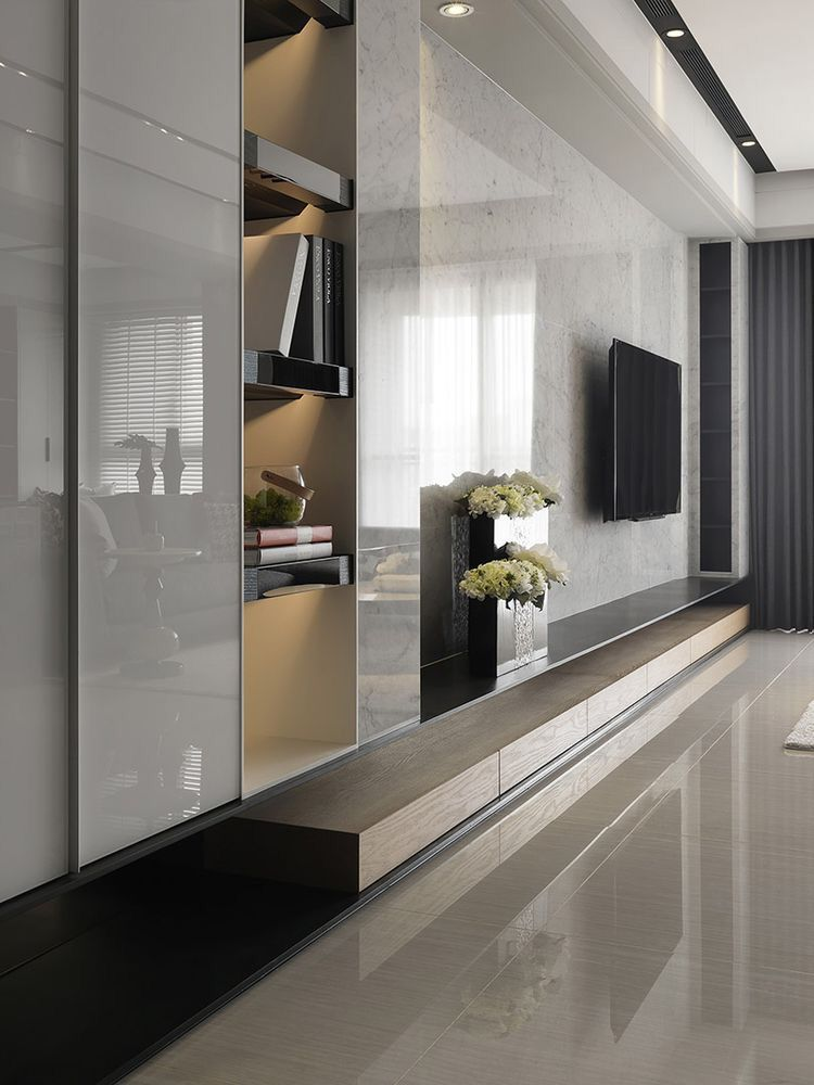 The second idea for tv unit you can cover the whole wall with marble. And it gives a gorgeous view for your living room