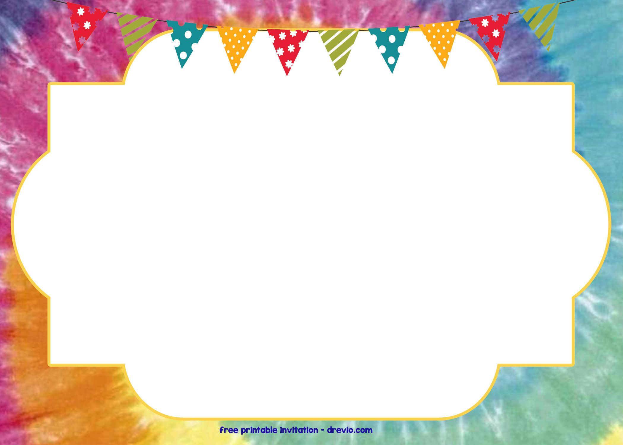 Free Tie Dye Invitation Template Free Printable Birthday