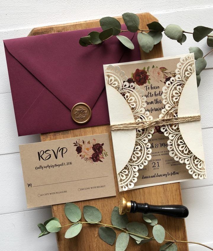 Laser Cut Pocket Wedding Invitation, Marsala Floral, Rustic
