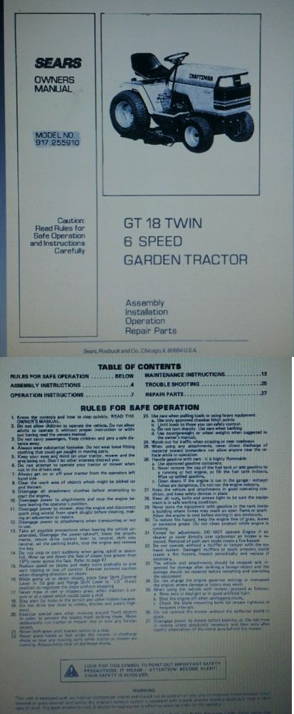 Manuals and Guides 42229: Sears Craftsman Gt18 Garden