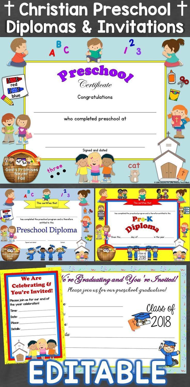 preschool diplomas graduation invitations editable religious