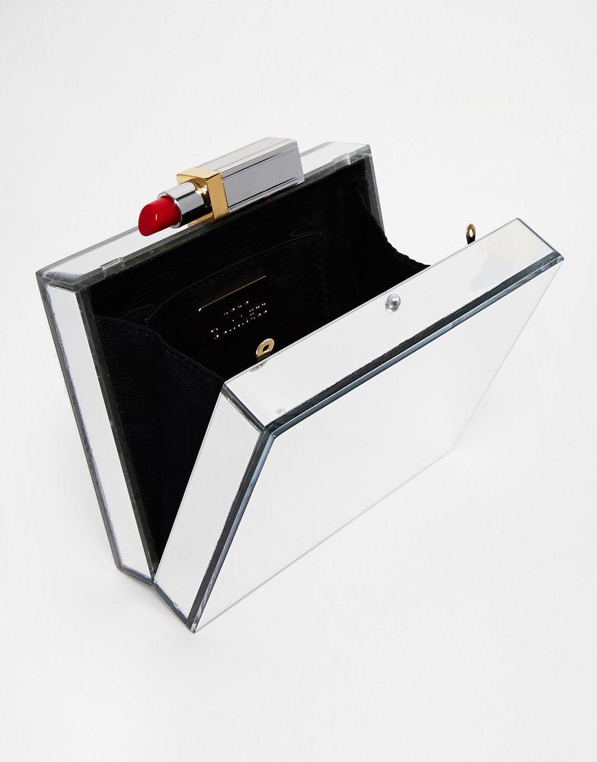 429dc9cdd5 Lulu Guinness Chloe Mirrored Perspex Box Clutch