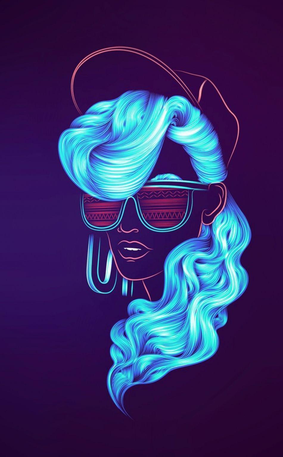 Neonwave Girl Blue Hair Portrait Wallpaper Patrick Seymour Neon Girl Neon Wallpaper