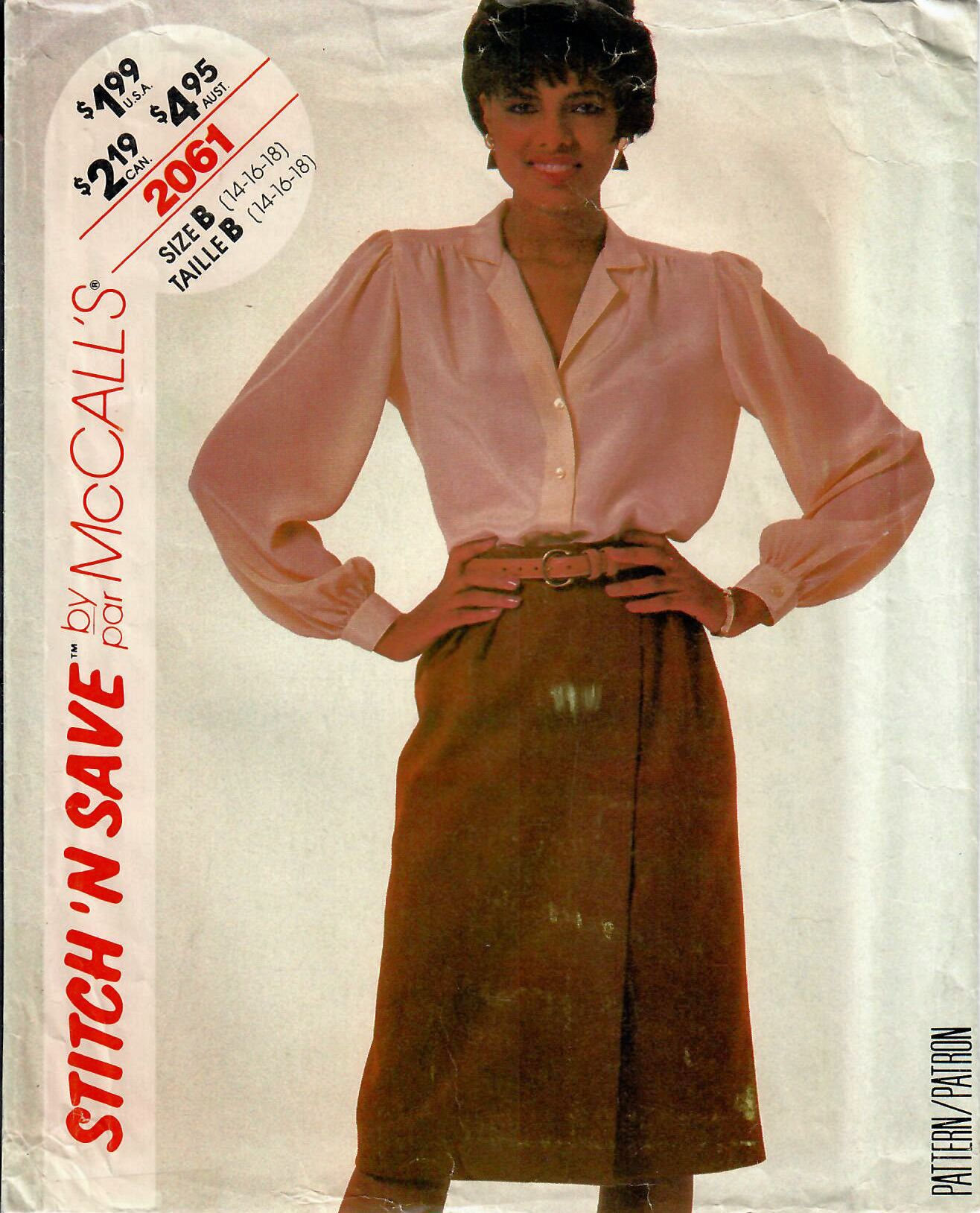 1980s McCall\'s 2061 UNCUT Vintage Sewing Pattern Misses Shirtwaist ...