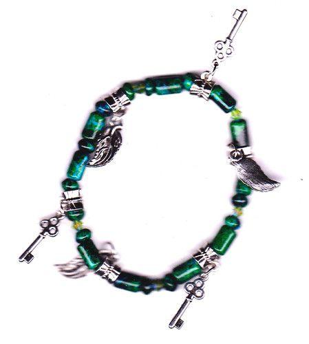 Green Malachite, leaf and key Charm Stretch Bracelet