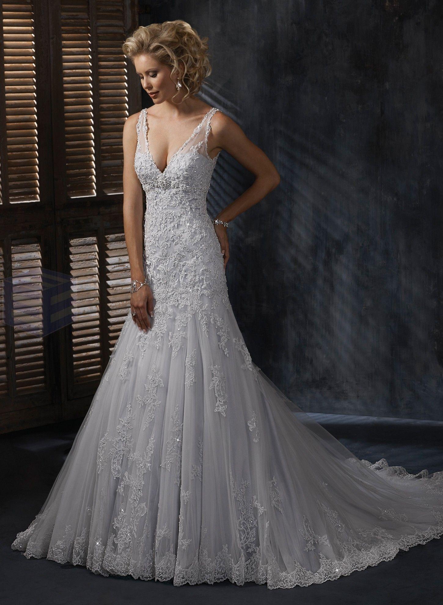 Lace V-neck Neckline A-line Wedding Dress - little low cut, but ...