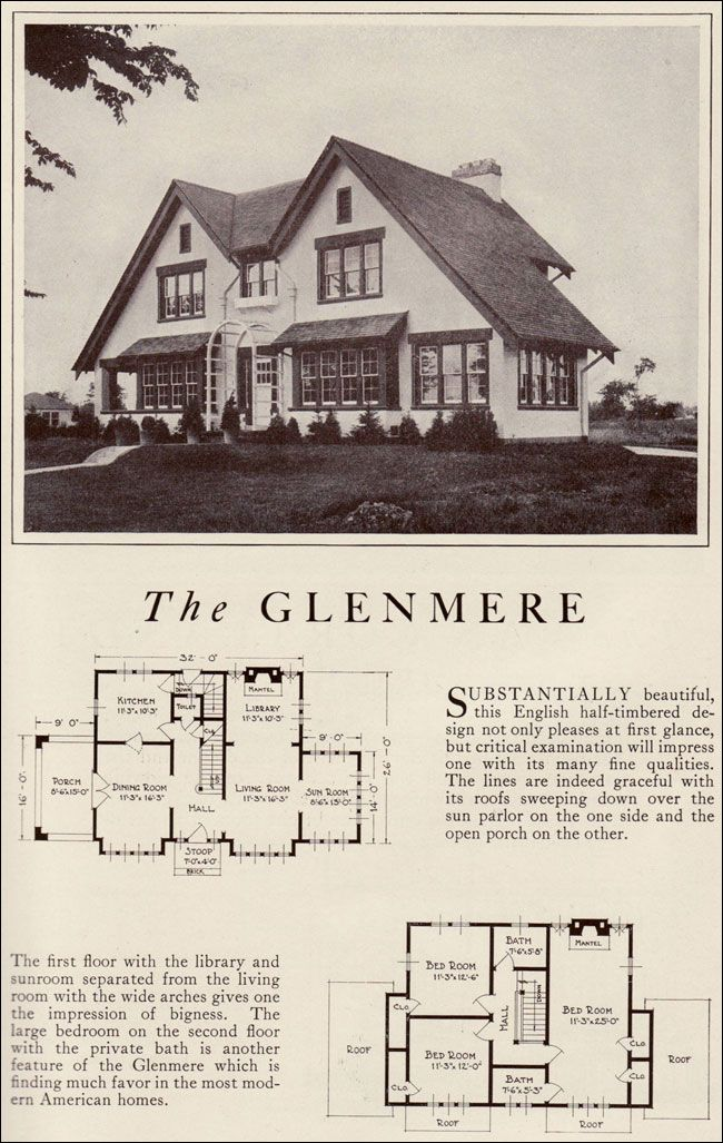 1922 Lewis Manufacturing Kit House Glenmere Arts And Crafts English Parallel Gables Dream House Plans House Floor Plans Kit Homes