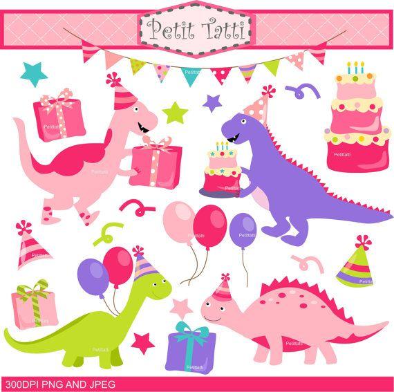 ON SALE Birthday Pink Dinosaurs Clip Art Dinosaur By
