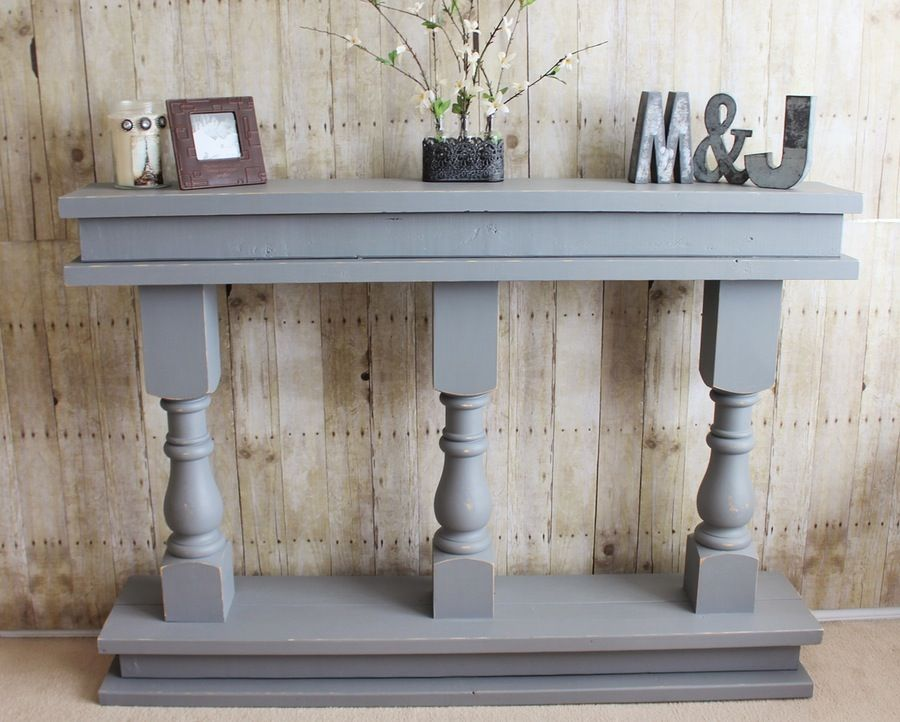 J Burns Design Narrow Console Table Wood Balusters Hallway Table