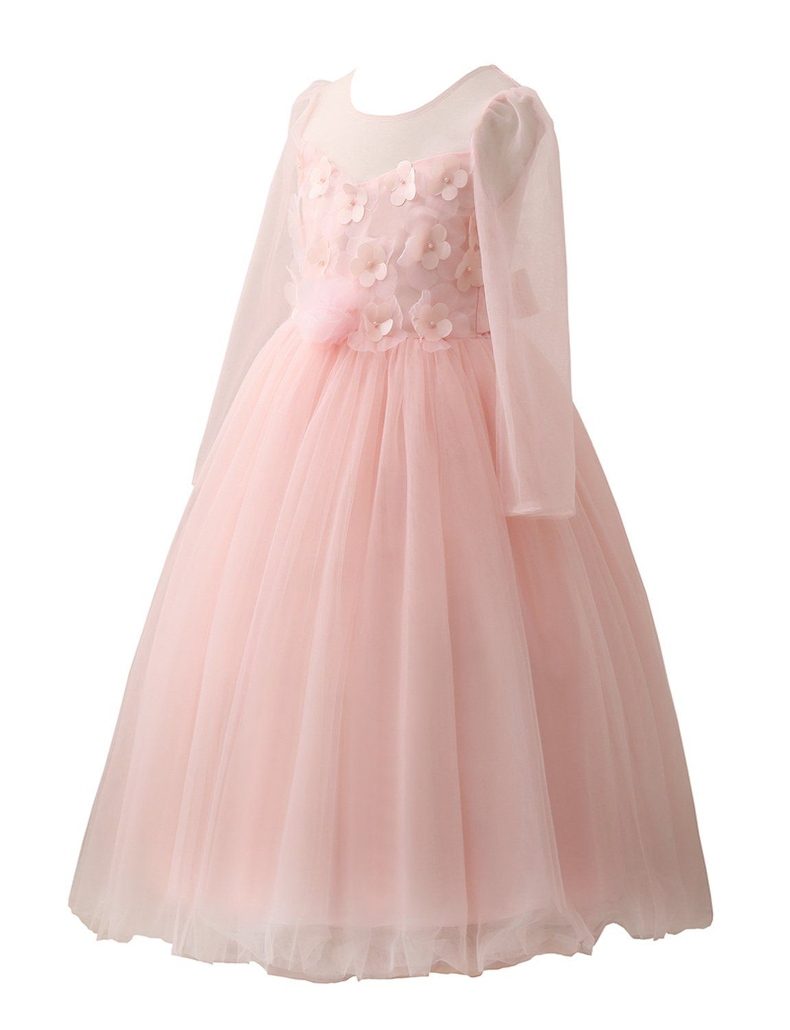 Castle fairy flower girls long sleeves blush pink party wedding