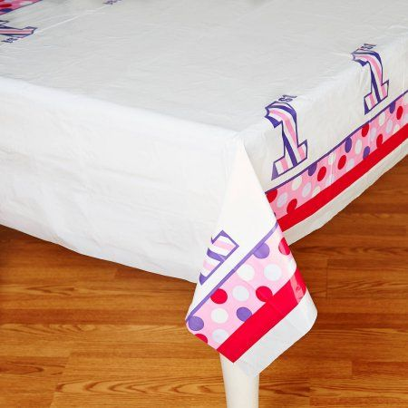 1st Birthday Girl Sweet Stripes Plastic Tablecover, Multicolor