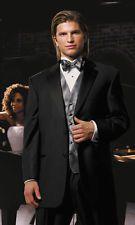 Mens Black Perry Ellis Sterling Tuxedo Package Pants Vest Tie Formal Wedding 40R