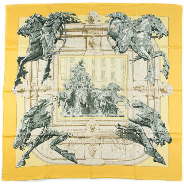 Hermes Pre-Owned Vintage Scarf La Fontaine Du Bartholomew (390917401) ($336) ❤ liked on Polyvore featuring accessories, scarves, multi, hermes shawl, silk scarves, silk shawl, hermès and vintage scarves