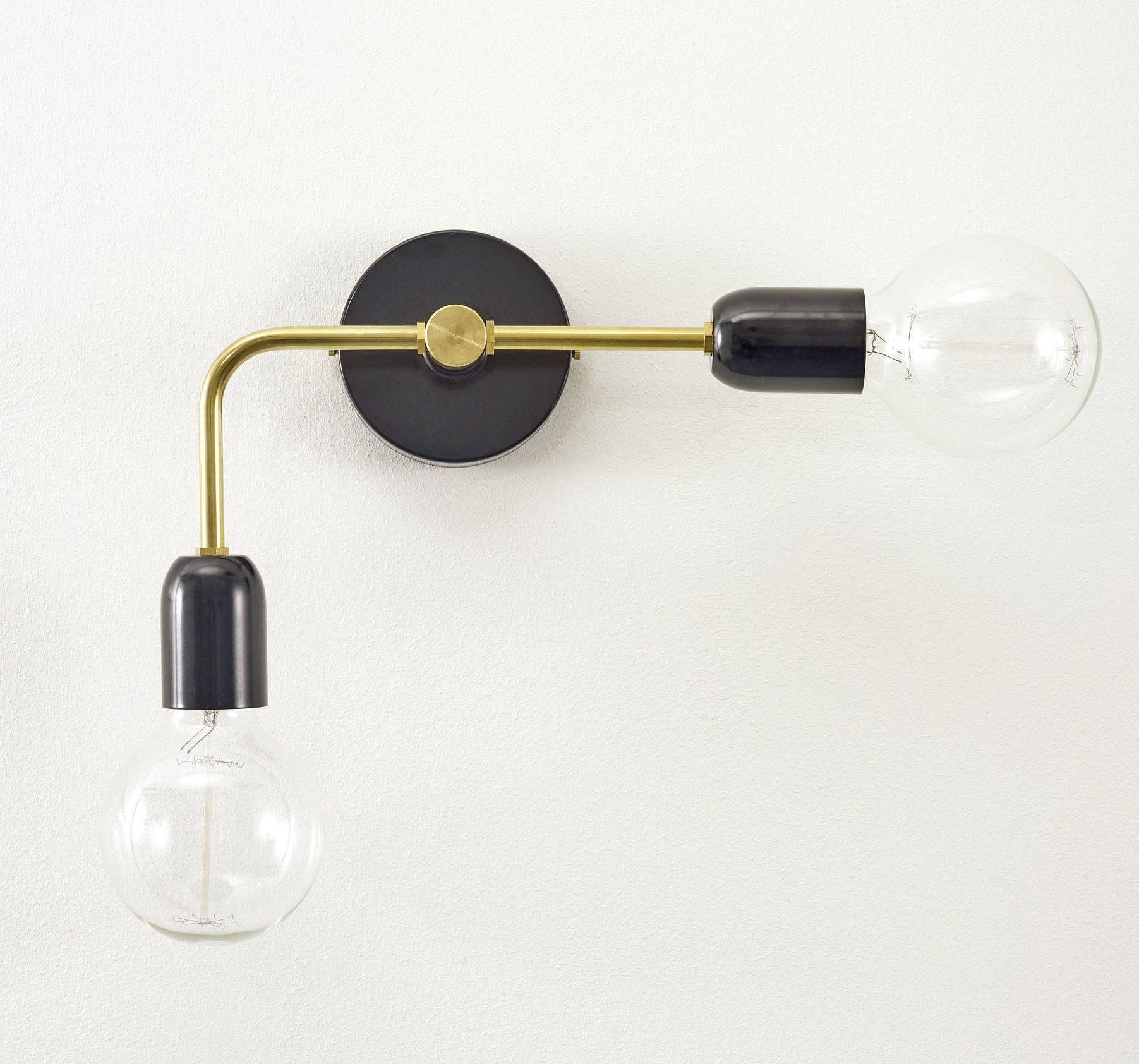 Black And Brass Asymmetric Wall Sconce Etsy Brass Pendant Light Wall Lights Pendant Sconce