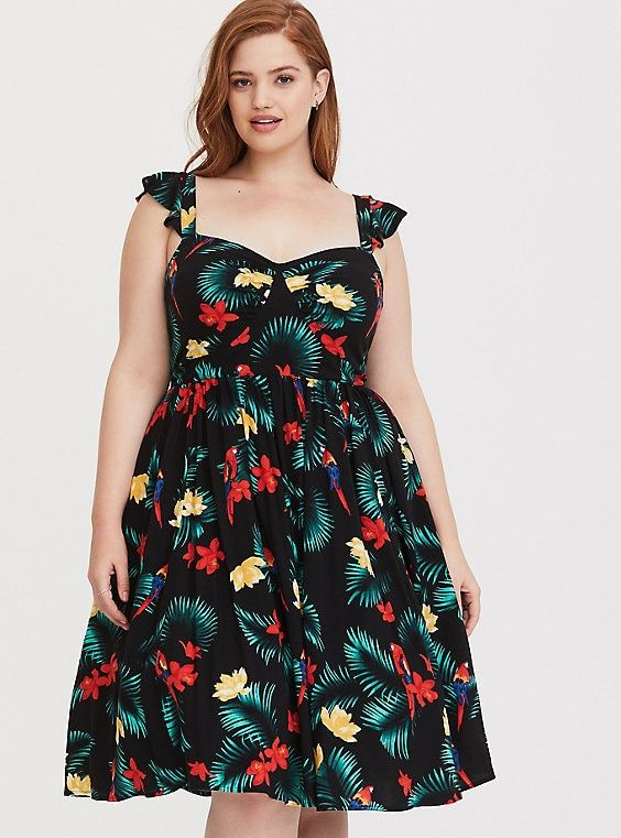 Retro Chic Black Tropical Midi Skater Dress | Fashion: Retro ...