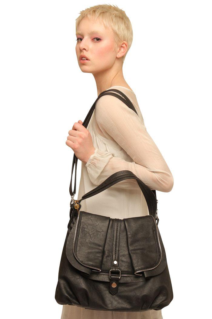 Black Zipper Handbag