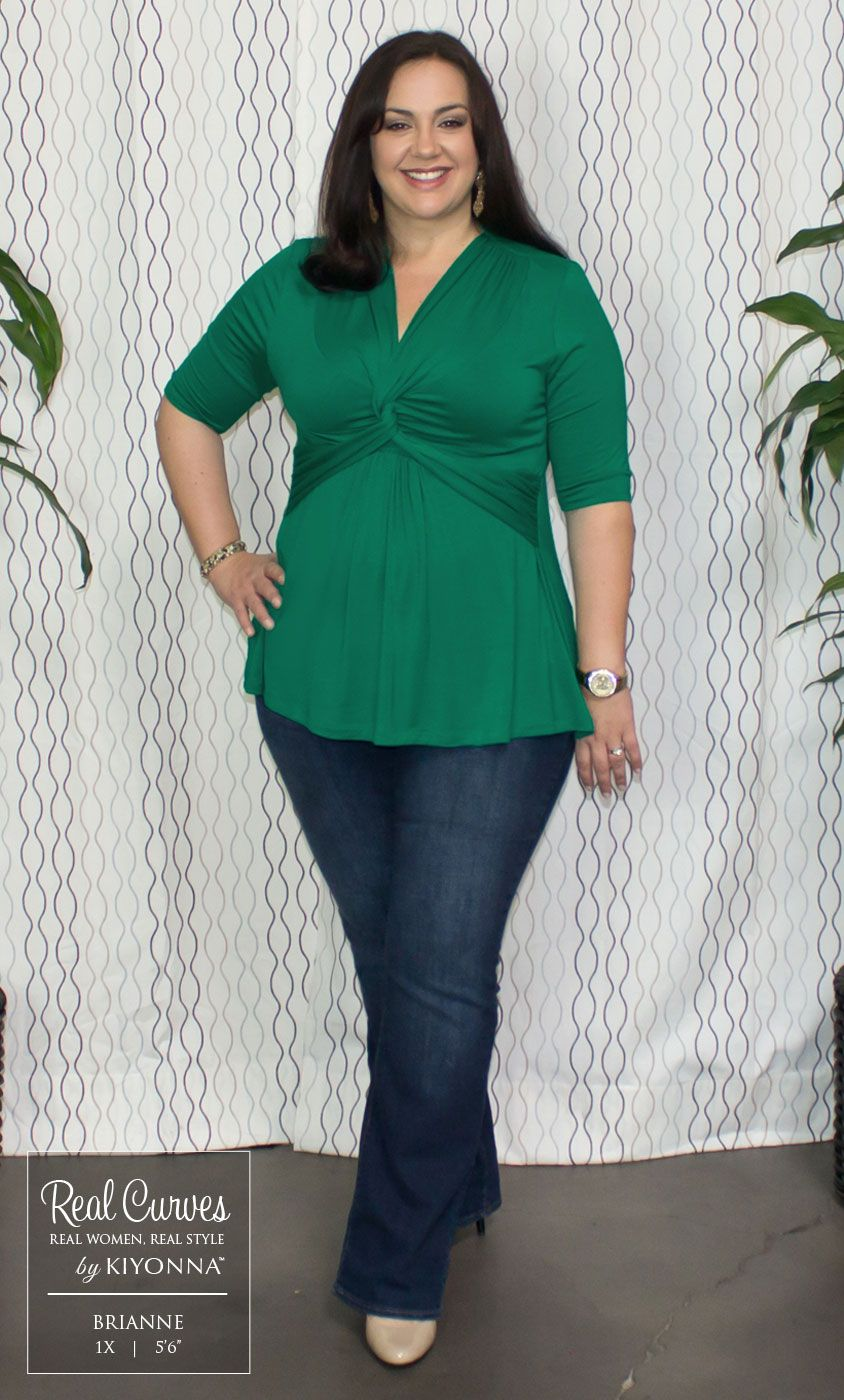 """e20452926f158 Real Curve Cutie Brianne (5 6"""") keeps it low-key with our plus size Caycee  Twist Top and jeans. Simple accessories and a feminine watch add a touch of  flair ..."""