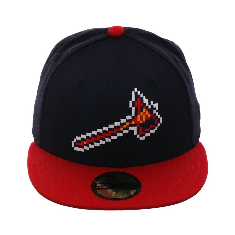 e79932bc69080f Exclusive New Era 59Fifty Atlanta Braves BP Pixel Hat - 2T Navy, Red, $  39.99