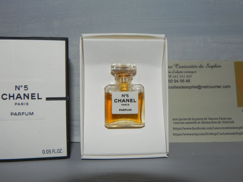 Chanel n 5 miniature small bottle glass full water perfume + box ...