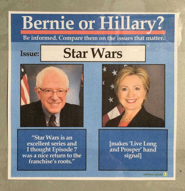 d2f2be02d14cbe642f28f5359b08bc73 funny star wars memes with a political twist bernie vs hillary,Star Wars Election Meme