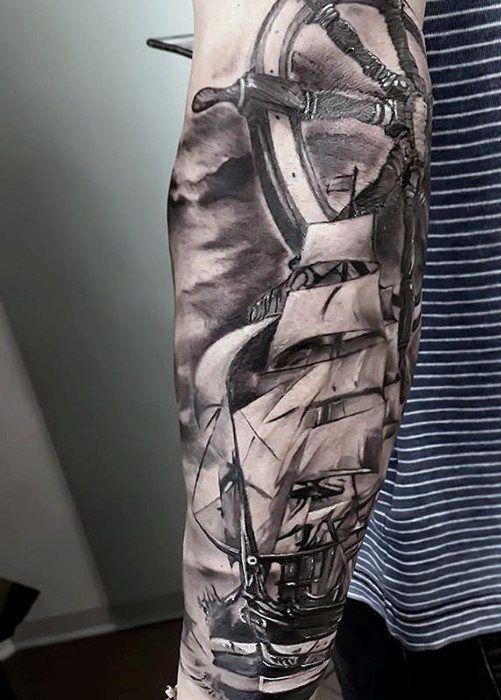 Forearm Sleeve With Ship And Wheel Guys Sweet Tattoo Ideas | Sleeve ...