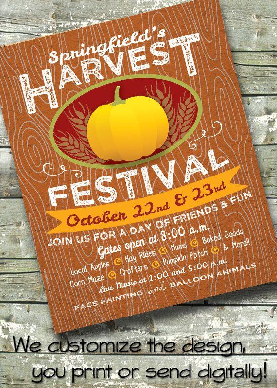 Harvest Festival  Fall Fest  Pumpkin Invitation  X Invite