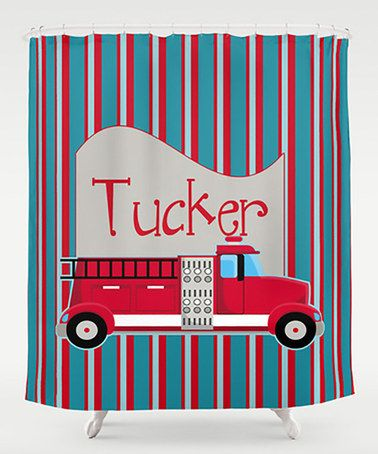 Another great find on #zulily! Fire Truck Personalized Shower Curtain #zulilyfinds