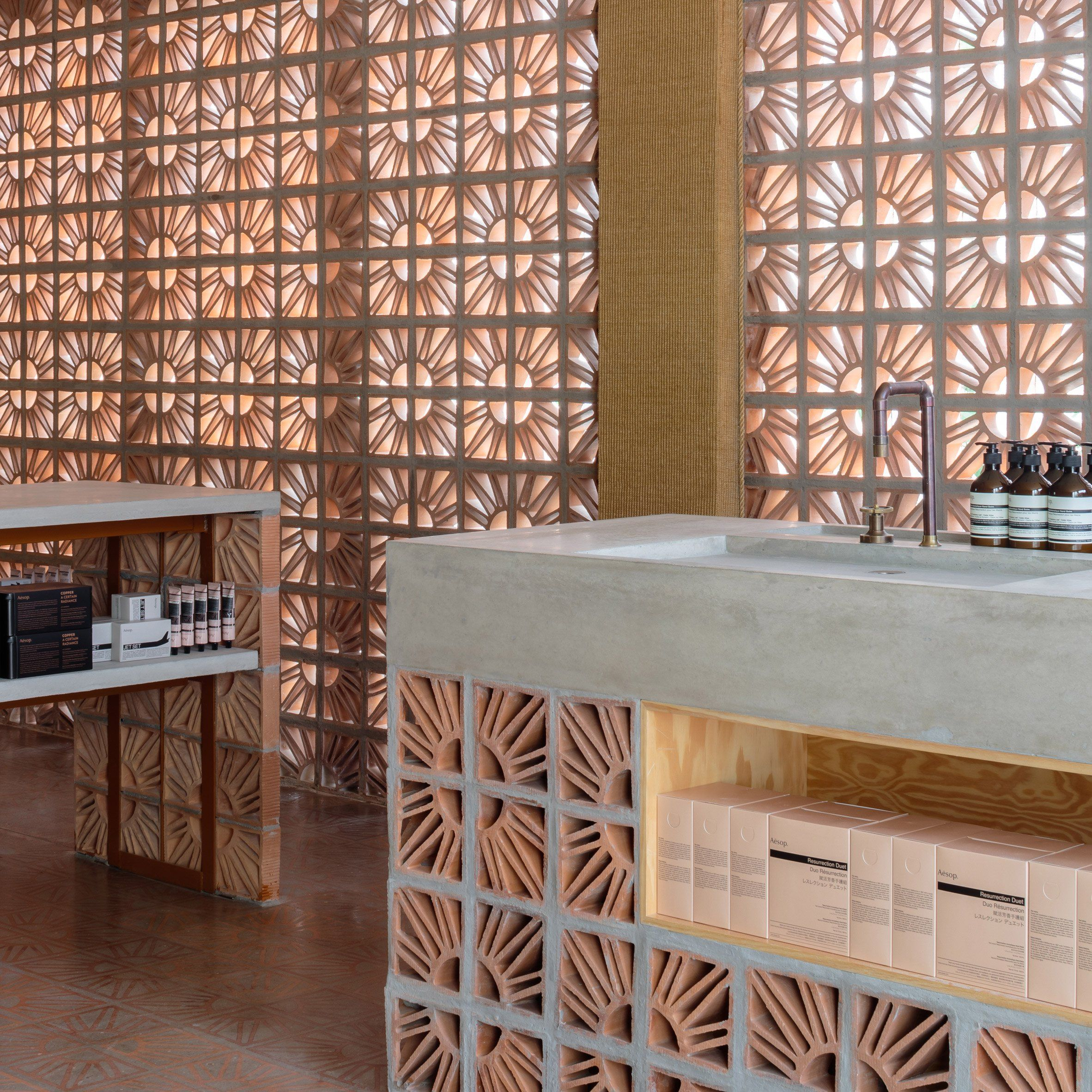 campana brothers use hollow terracotta blocks for são paulo aesop