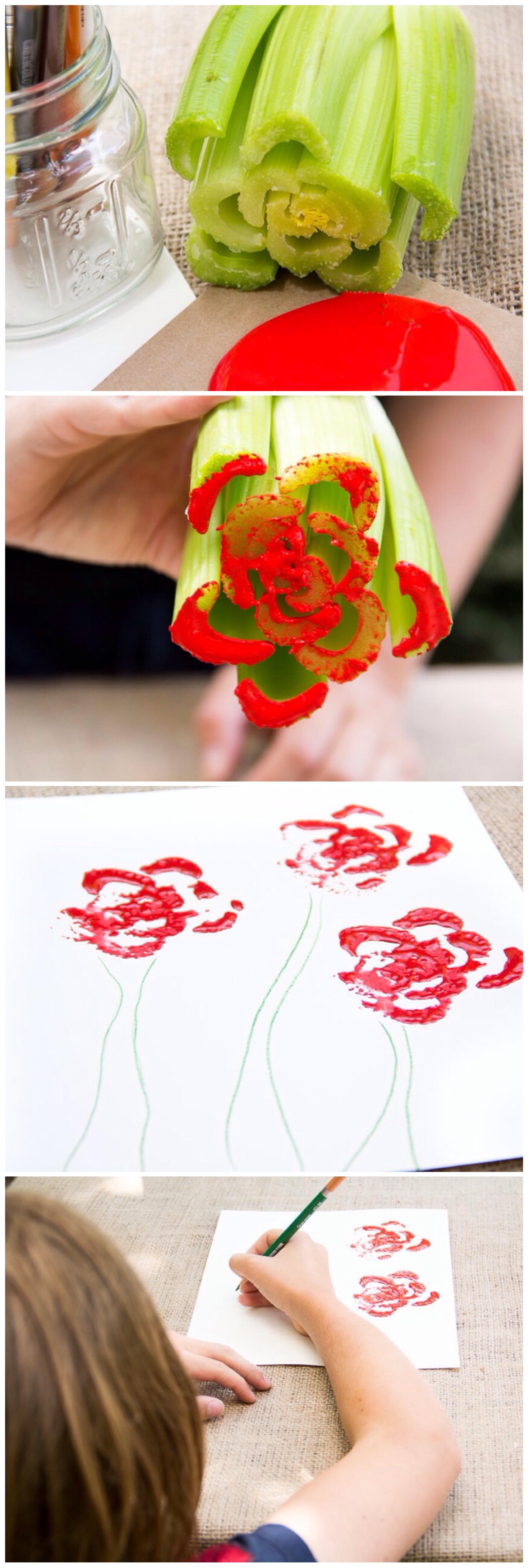 Diy celery painting moonfrye paint crafts repurposed kids crafts