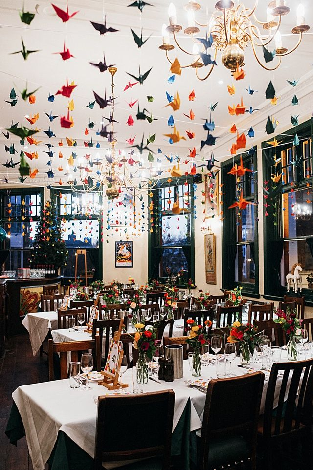 Pinning This Just For The Sheer Impressiveness Colourful Origami Winter Peasant Pub Wedding Clerkenwell