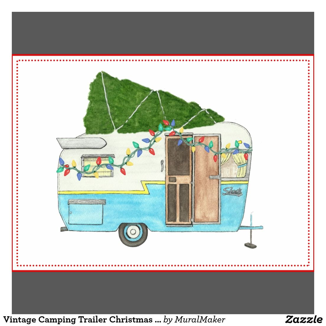 Camping Christmas Cards.Vintage Camping Trailer Christmas Card Zazzle Com Cards