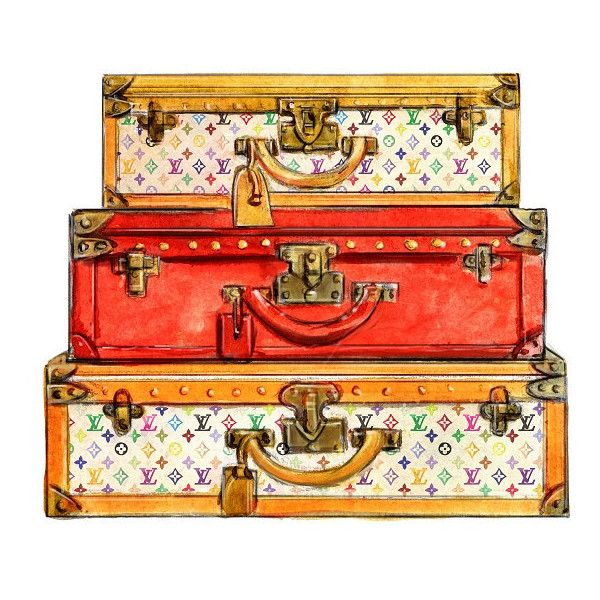 dba74eab41a Watercolor Louis Vuitton Travel Trunks Multicolor Print ( 10) ❤ liked on  Polyvore featuring home, home decor, wall art, bags, furniture, other, ...