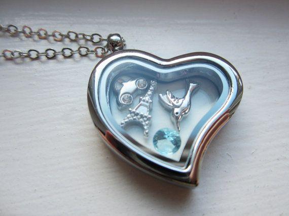 Heart Living Locket - BUILD YOUR OWN Floating Locket - Origami Owl Style Glass Locket - Memory Locket on Etsy, $177.84