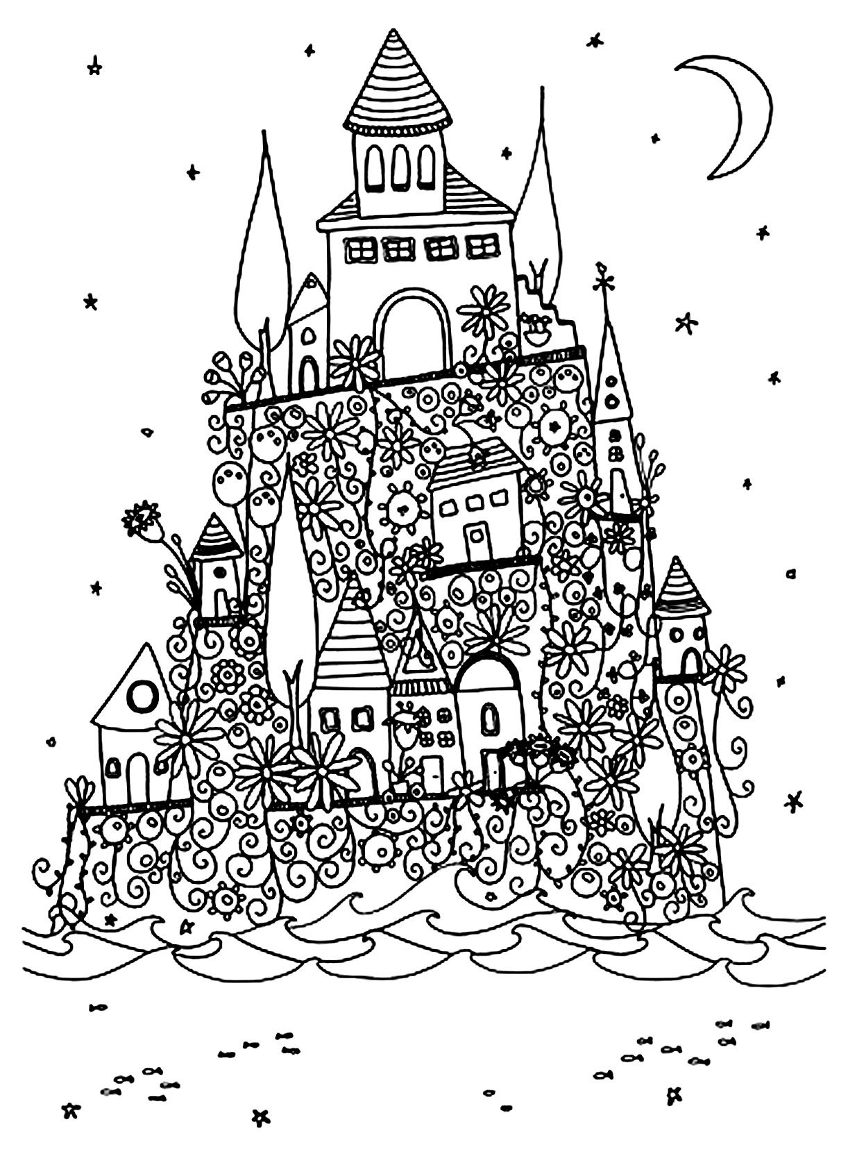 Free coloring page coloring architecture village on a hill village on a hill