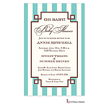 Classic baby Shower Invitation with Aqua and Ivory baby shower with stripes From Little Angel Announcements