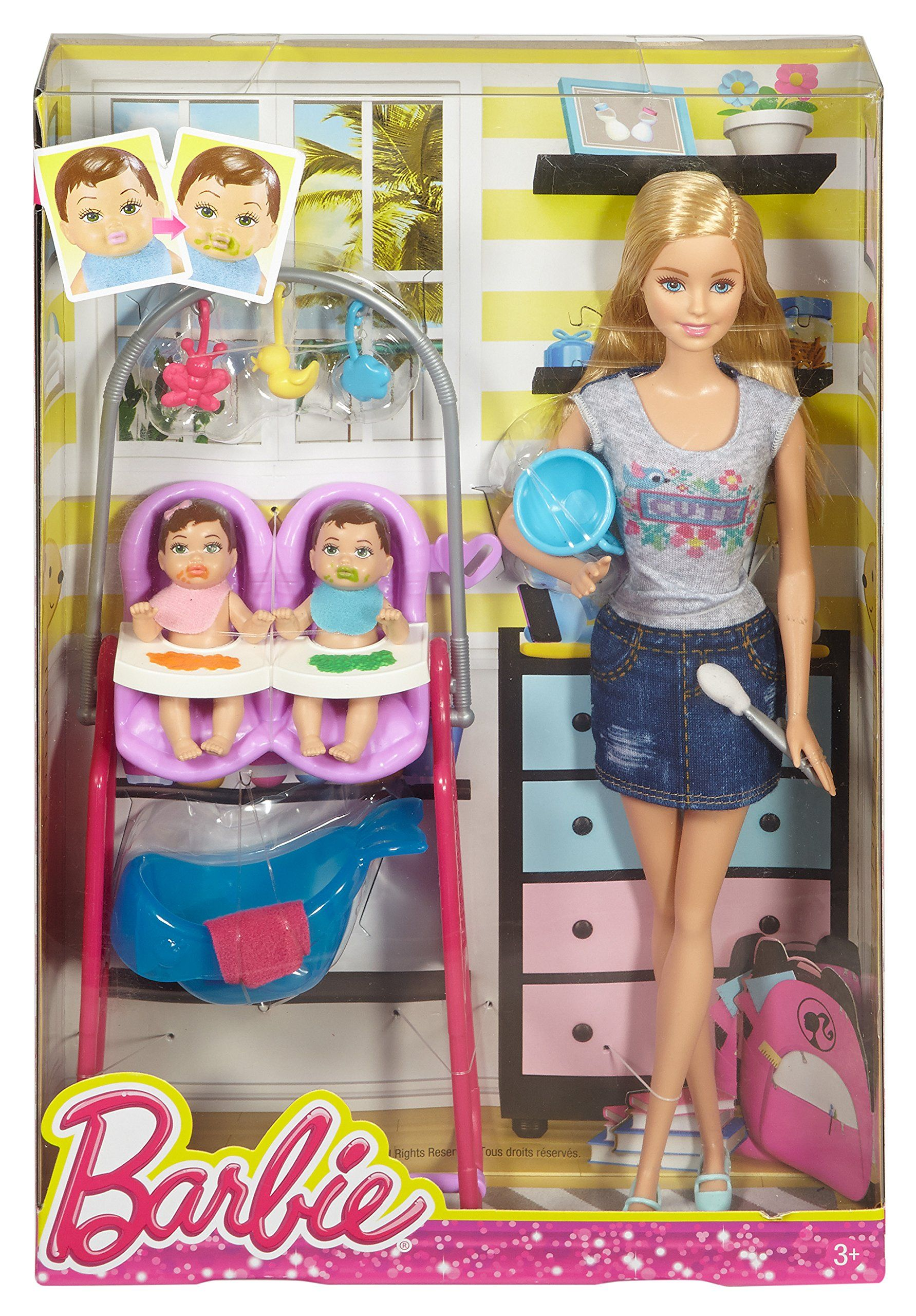 Amazon.com: Barbie Careers Twin Babysitter Doll and Playset: Toys ...