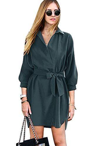 81f3ef370715 Vestito Camicia Donna Elegante Mini Abiti con Cinturino Fiocco Vestiti  Manica Tre Quarti Estivi Autunnali Abito