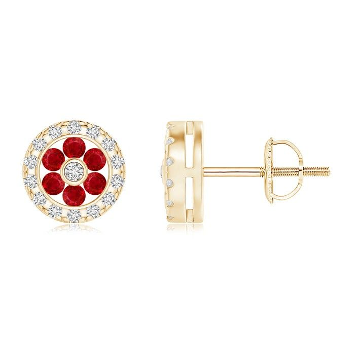 Angara Teardrop Framed Oval Ruby Solitaire Earrings in 14K White Gold 0OWeb
