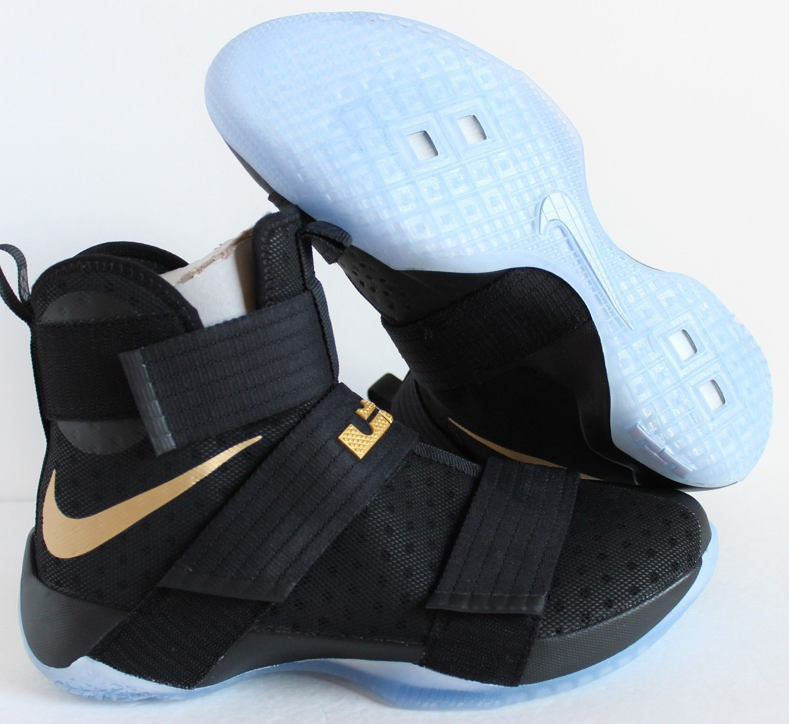 NIKE iD ZOOM LEBRON SOLDIER 10 CHAMPIONSHIP BLACK GOLD SZ 10 [885682-991]