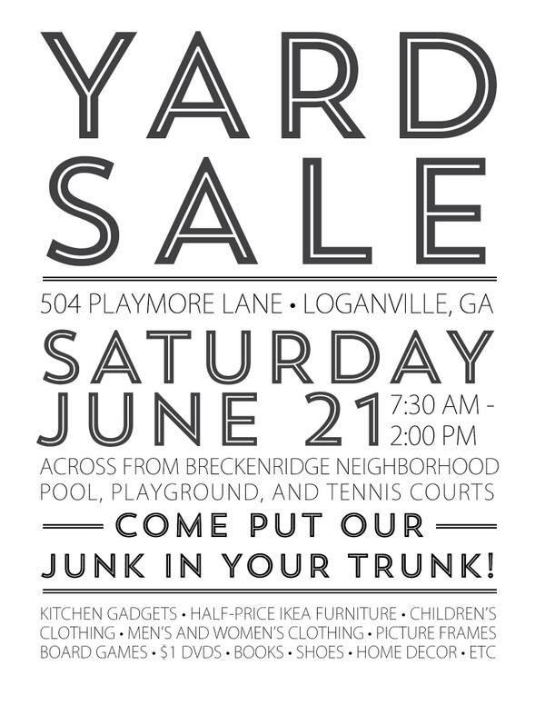 Lesley Anne On Yard Sale Yard Sale Signs For Sale Sign