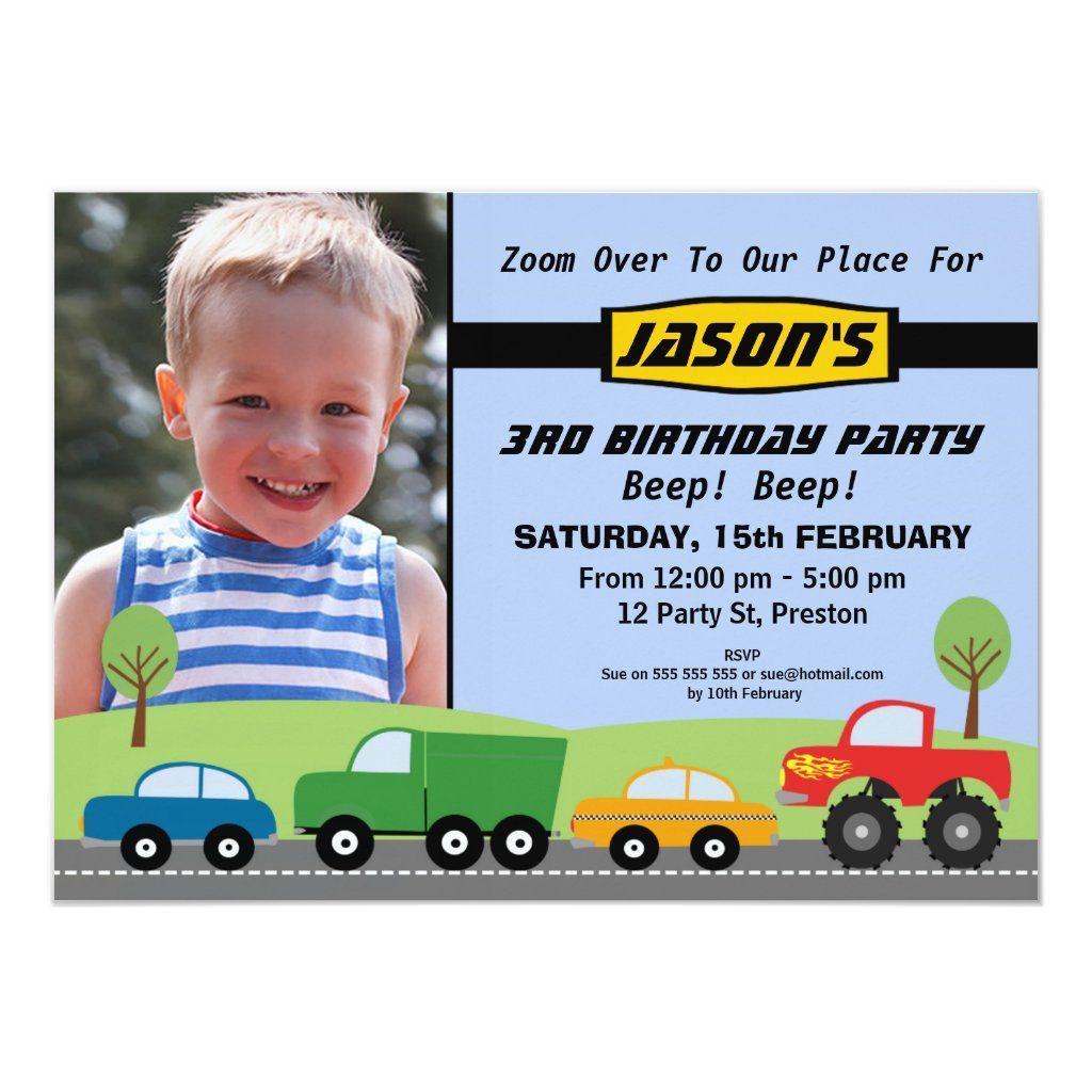 Boys Transport Birthday Party Invitation | Zazzle.com