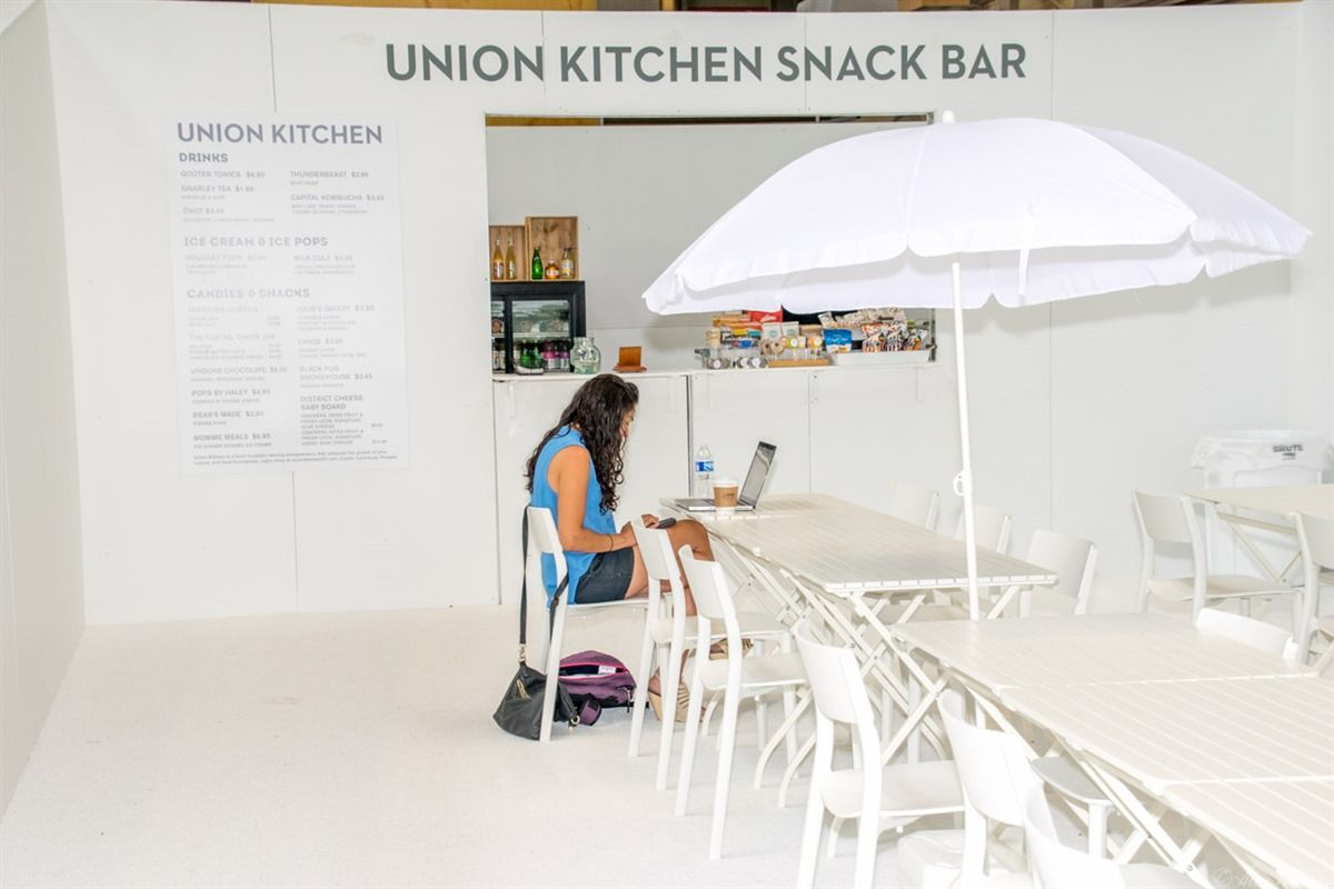 A shot of the snack bar, featuring food from Union Kitchen at The ...