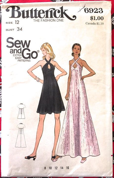 5575df13826 Rare  HALTER DRESS Sewing Pattern  Retro  Vintage Cross Front Key-Hole  Evening Gown  Butterick  sew-lutions